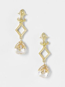 Gold and Crystal Drop Earrings