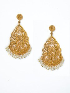 Gold Filigree Multi Stone Drop Earrings