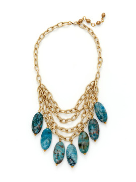 Rachel Reinhardt Blue Stone Drop Layered Necklace