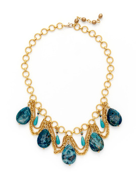 Rachel Reinhardt Blue Stone Scalloped Necklace