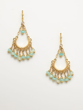 Rachel Reinhardt Green and Gold Chandelier Earrings
