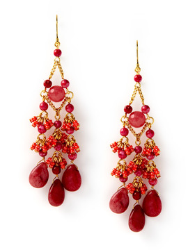 Rachel Reinhardt Pink and Orange Chandelier Earrings