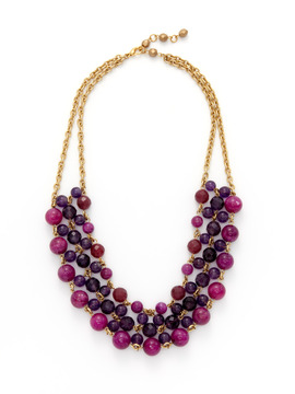 Rachel Reinhardt Purple Jade and Amethyst Bib Necklace