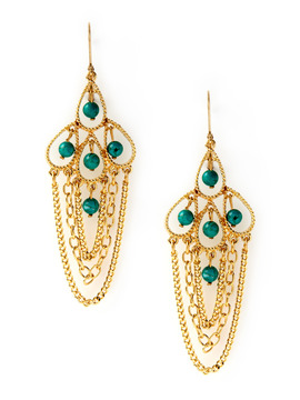 Rachel Reinhardt Turquoise Chain Drop Earrings