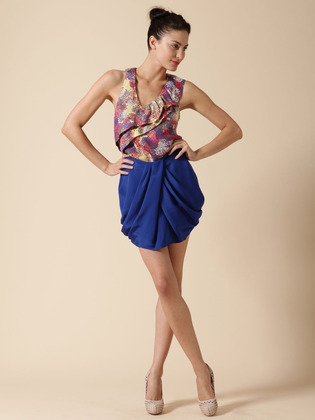 Ali Ro Silk Crepe Draped Skirt