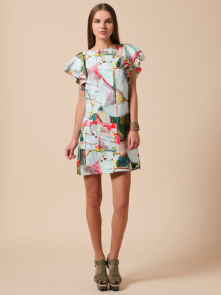 Ali Ro Silk Flutter Sleeve Dress
