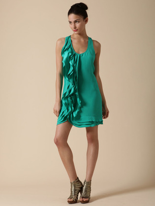 Ali Ro Silk Ruffle Cascade Dress