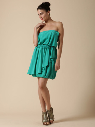 Ali Ro Silk Strapless Bubble Dress
