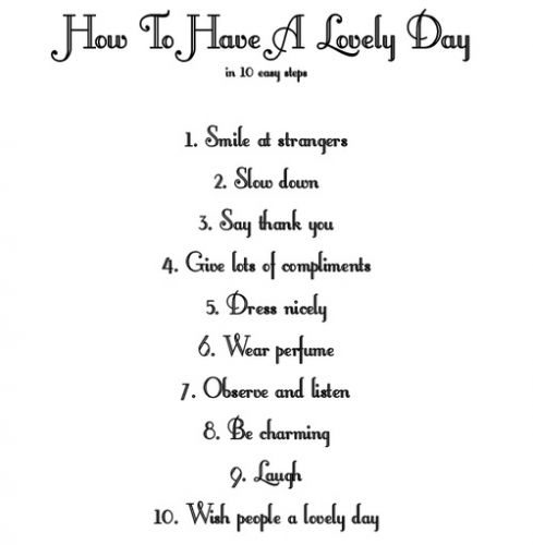 how to have a lovely day image